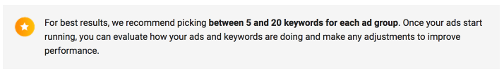 Limit the number of keywords