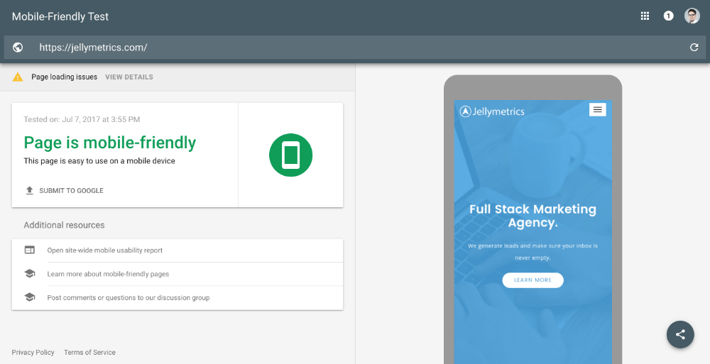 Page is mobile friendly