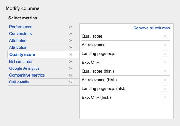 Quality Score: Modify columns